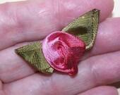 Vintage FRENCH SILK Ribbonwork Applique - Light & Dark Pink Rose with Olive Green Leaves