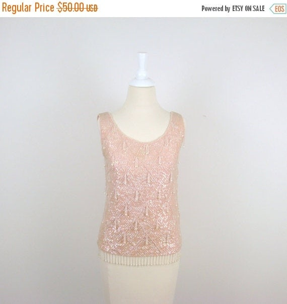 ON SALE Petal Pink Beaded Top - Vintage 1950s Sleeveless Sequin Shell in Small