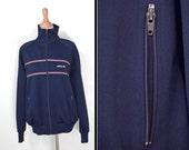 1990s ADIDAS Track Jacket Red White Navy Blue Zip Up Large