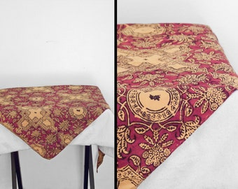 BATIK Floral Scarf 1970s Hippie India Crimson + Saffron Triangular 58 x 38 x 38 Last Chance Sale