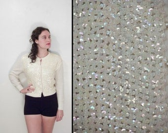 1960s AB Sequin Cardigan Penrose Sweater White Rainbow Effect Sparkly Size Small