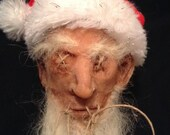 Shrunken Head / Shrunken Head of Santa / Handmade