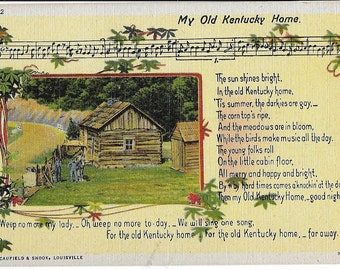 Vintage Linen Caufield and Snook Louisville Postcard Not Used My Old Kentucky Home
