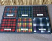 """Vintage 60's """"PLAID PATTERNED COASTERS""""  Made in Scotland Set of 6"""