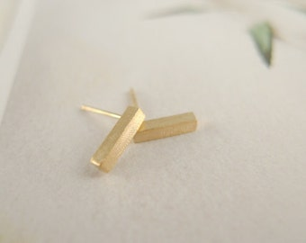 BAR NONE >> 18k gold tiny bar earrings <<< stick studs >>> proceeds donated to Humane Society