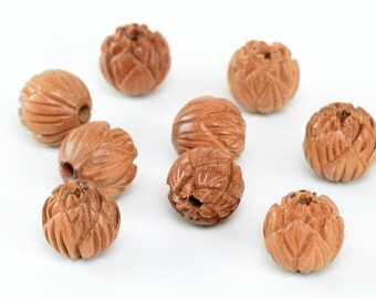 13MM Natural Jujube Wood Handcrafted Floral Lotus Flower Round Loose Beads 6 Beads (50738-248)