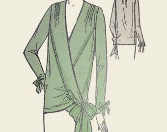 1920s Style V Neck Drop Waist Wrap Around Bow Blouse Custom Made in Your Size From a Vintage Pattern