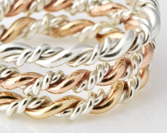 Stacking Rings, Rose Gold Twist Ring, Gold Stack Ring, Rose Gold Ring, Twisted Ring, Braid Ring, Stacked Rings, Thumb Ring, Braided Ring