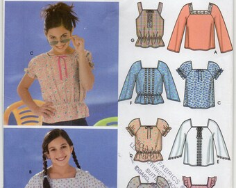 Top With Sleeve And Trim Variations Girl's Size 12 14 16 Children's Blouse Or Shirt Sewing Pattern 2003 In K Designs Simplicity 5579