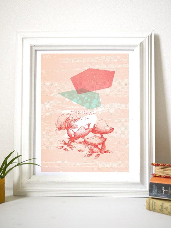 affiche illustration lapin champignons g ants design formes. Black Bedroom Furniture Sets. Home Design Ideas