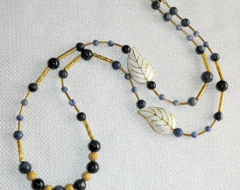 Beautiful Blue Dumortierite Necklace with Gold Trimmed White Cloisonné Leaves & Golden Stardust Twilight Sky in Winter Dramatic Glamour