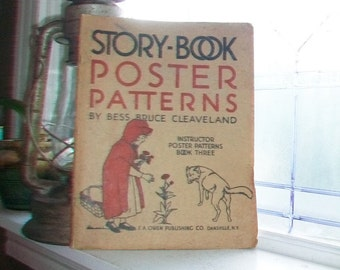 Large Story Book Poster Patterns by Bess Bruce Cleaveland Vintage 1926