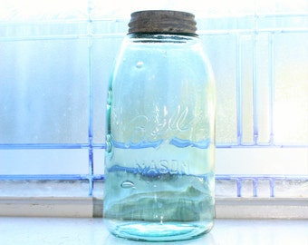 Half Gallon Blue Ball Mason Jar 3 L Logo Circa 1896 to 1910 Antique Canning Jar