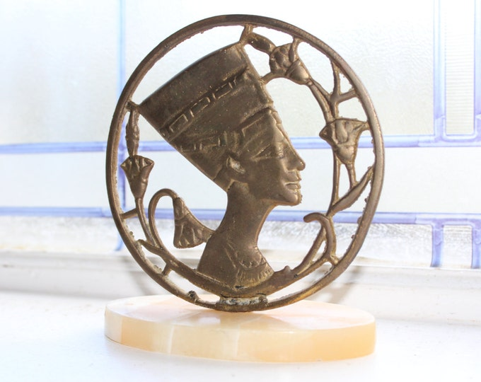Art Deco Paperweight Egyptian Motif Brass and Marble Queen Nefertiti