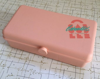 80's Caboodles Makeup Case Jewelry Box Small Mini Pastel Pink Peach