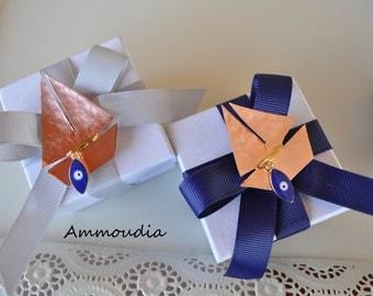 Beach wedding favors -Baptism sailboat favors - bridal shower favor- baby shower favor - Greek baptism bomboniere