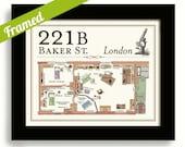 Sherlock Holmes Framed Artwork BBC 221B Baker Street House Moriarty Crime Scene Sherlock Gift Dr Watson Detective Drama Olde London England