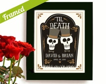 Gay Wedding Gift Personalized Day of the Dead Gay Marriage Newlywed Gift Gay Men Art Print for Gay Couples Goth Couple Anniversary