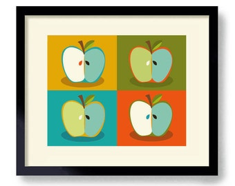 Mid Century Modern Wall Art Apple Art Kitchen Art Print Apple Design Andy Warhol Retro Kitchen Colorful Kitchen Decor Modern Design