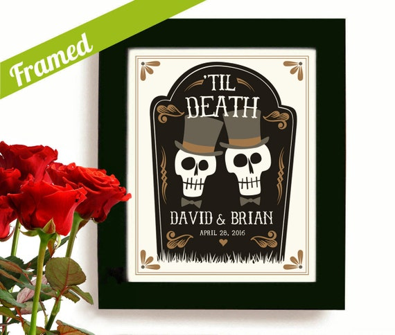 Gay Wedding Gift Personalized Day of the Dead Gay Marriage Newlywed ...