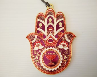 purple red off white enameled metal hamsa wall hanging, housewarming present, hand of fatima,  judaica, made in israel