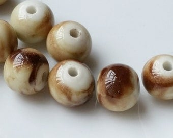 """12 mm Brown Colour """"Colored Drawing"""" Porcelain Beads (.nm)"""