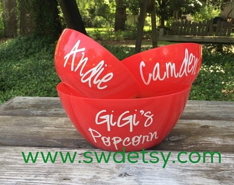 Personalized POPCORN Bowl Set, Fathers Day Gift, Hostess Gift