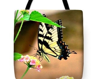 "TOTE BAG/""Lunch Time""/Fine Art Tote Bag With Image Of Butterfly/Perfect For Everyday Convenience/Great Gift For Special Person"