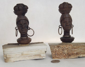 Wooden Hand Carved African Woman with Fruit on her Head mounted on Petrified Wood Black Americana Wood Carving