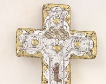 Mexican Folk Art Cross Vintage Gold and Silver Metal on Wood Religious Spirituality Home Decor Wall Decor