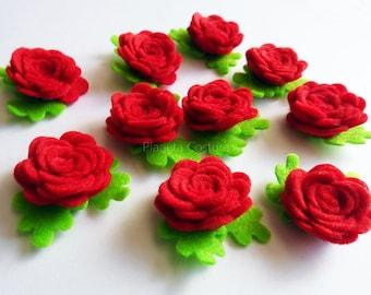 Felt applique, Felt Flower applique, Felt Embellishment, felt die cut, Craft Supplies, 10 pieces, Red flowers