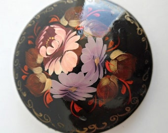 21% OFF :) FOREST BLOOM . Lacquer Hand Painted Signed Wooden Brooch Pin 60s Russian Russia