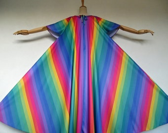 SALE :)))) I, RAINBOW . Show-Stopping Op Art Futuristic Print Maxi  Dress Quality Jersey 70s xl xxl 1x 2x