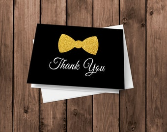 20 Tuxedo Folded Thank You Cards - Glitter bow tie
