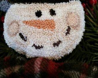 Primitive Punch Needle Dancing Snowman Pattern