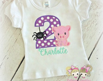 Pig and spider birthday shirt - 1st birthday shirt - Charlotte's themed - embroidered birthday shirt for girls - pig and friendly spider