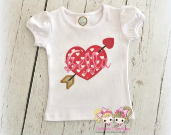 Personalized Valentine's Day shirt for girls - heart and arrow shirt - girls Valentine's Day shirt - 1st Valentine's Day - heart shirt