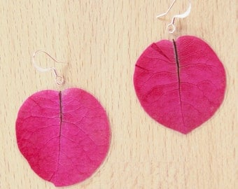 Real Flower Jewelry! Fuchsia Bougainvillea Pressed Petal Earrings
