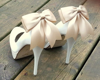 Wedding Shoe Clips, MANY COLORS, Champagne, Bridal Shoe Clips, Satin Bow Shoe Clips, Shoe Clips for Wedding Shoes, Bridal Shoes, Womens