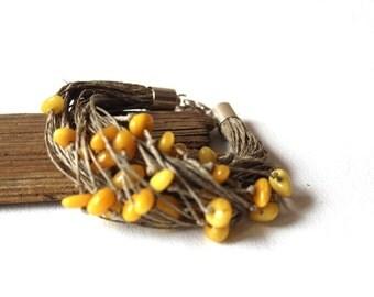 Boho bracelet / amber bracelet / linen cord bracelet/ yellow amber bracelet