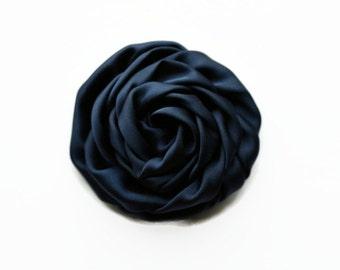 "Navy Satin Rolled Rose. 2.5"" NAVY Satin Rosette. Set of 2 Flowers. ~ Hazel Collection."