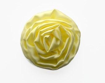 """Cream Satin Rosette. 2.5"""" Satin Swirl Rosette. Set of 2 Flowers. Hazel Collection."""