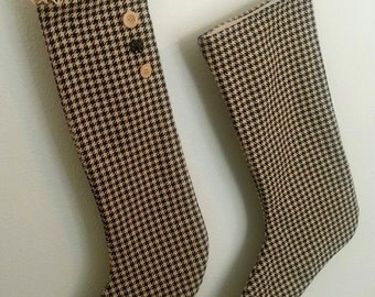 Houndstooth Vintage Style Christmas Stocking
