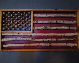 Birch, Flag, American Flag, rustic, art, rustic flag