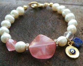 Feminine Cherry Quartz and Pearls Bracelet