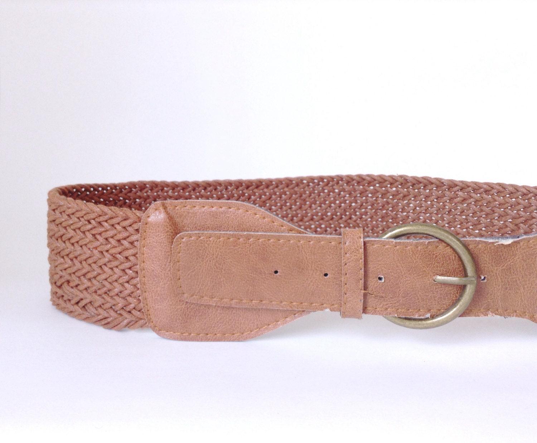 wide belt rustic woven light brown dress accessory