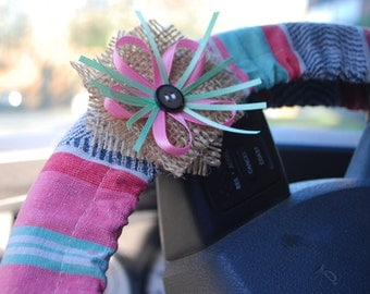 Steering Wheel Cover Pastel green, pink, grey tex/mex patterned