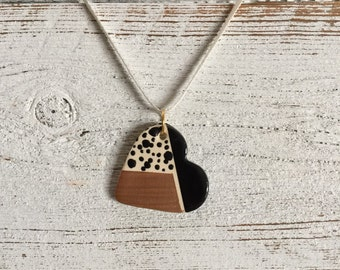 Modern Ceramic Heart Pendant, Minimal, Modern, Black, Rose Gold, Unique Gift, Ceramics, Gift for Her, Ceramic Jewelry