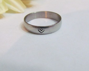 HEART RING - Hand Stamped -Everyday wear jewelry//gifts for her// love rings//relationship//mother's ring