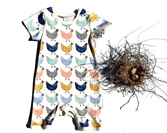 Organic cotton baby romper in 'Chickens'  size 0 (6 to 12 months) size 1 (12 months)
